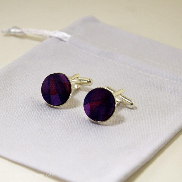 Purple/Blue/Red Abstract Silk Cuff Links