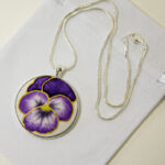 Unusual Silk Gifts - Hand Painted Silk Purple Pansy Pendant Necklace