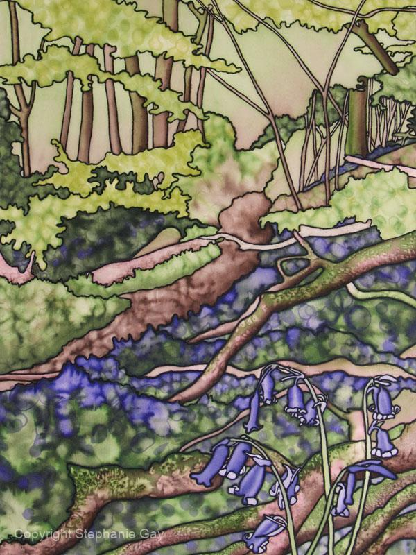 Bluebells at Priors Wood 2 Silk Painting